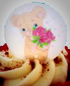 Edible cake topper - Teddy with flowers