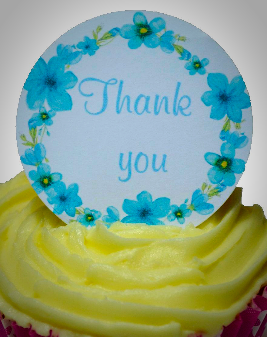 Edible Cake Toppers Decoration Thank You Flowers
